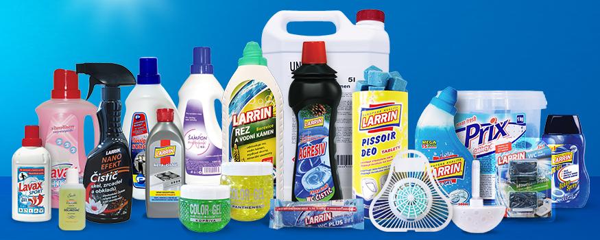 Výběr výrobků WC gelů, tekutých WC přípravků a prostředků bytové chemie, např. na rez a vodní kámen, na čištění koberců, kuchyní, koupelen, sprchových koutů