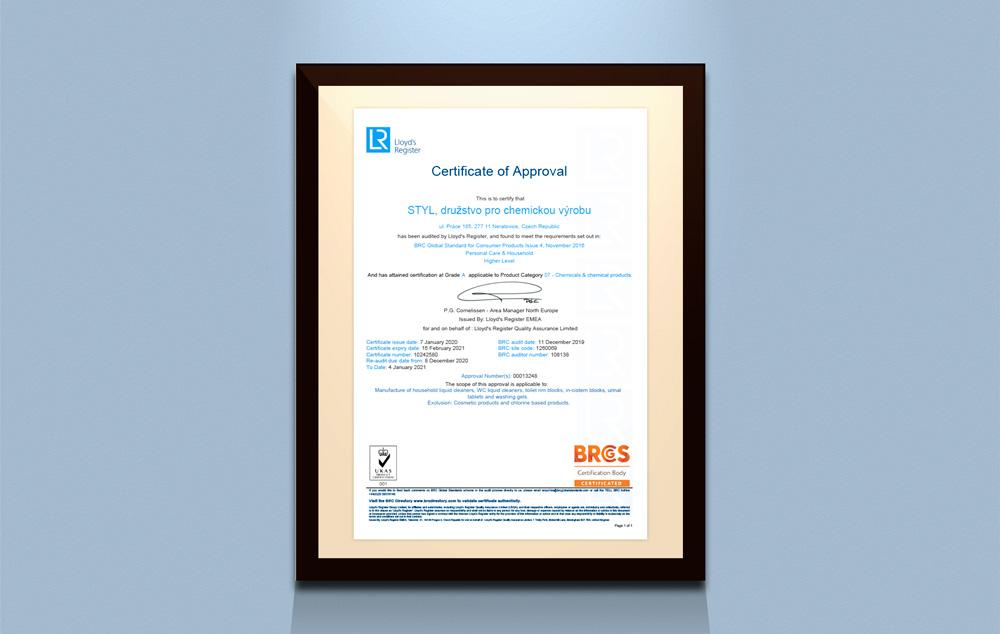 Lloyd's Register Certificate of Approval STYL, družstvo pro chemickou výrobu